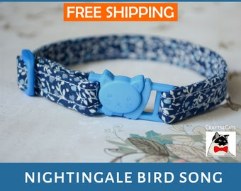 Kitten collar 'Nightingale bird song' - Adjustable, breakaway safety collar for kitten & cat