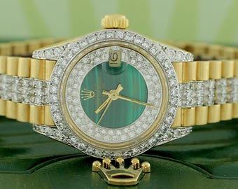 Rolex President Datejust Ladies 18K Yellow Gold Watch 26mm w/Diamond Dial, Bezel & Bracelet