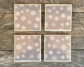 Gray and White Snowflake Christmas Ceramic Coasters