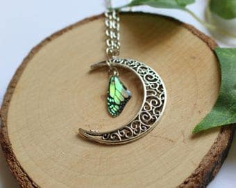 Moon and Butterfly wing necklace