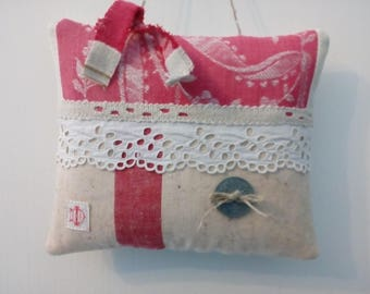 Pillow of door made with vintage fabrics