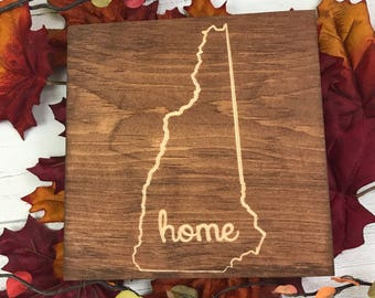 Home with State | New Hampshire | State Decor | home decor | wall decor | home state | Customizable | Home Sign |