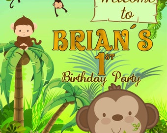 Monkey welcome sign- backdrop - happy birthday - Digital file YOU PRINT