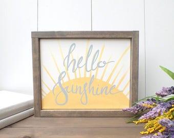 Nursery Painting, Hello Sunshine, Nursery decor, Sunshine Painting, Children's Room, Christmas Gift, Baby shower Gift, Nursery Canvas