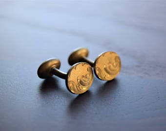 Antique Victorian Yellow Gold Filled Engraved Oval Cuff Links
