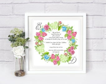 Rose Wreath Square Wedding invitation - Sample + Voucher