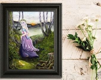 Cinderella (8x10), Cinderella artwork, Watercolor print, Nature print, Fairytale art print, Fantasy art, Disney princess, Princess, Spring