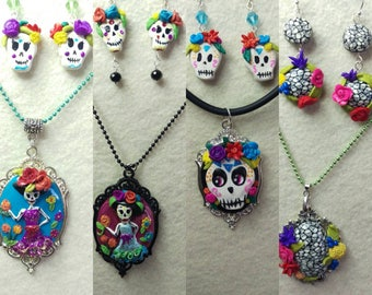 Sugar skull sets,skull jewelry, Halloween  necklaces, catrina pendant, day of the dead jewelry.skulls earrings