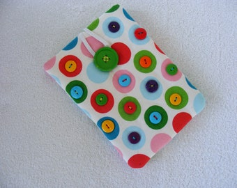 """CLEARANCE -   Polka Dots and Buttons, Kindle Cover, IPad Mini Cover, Nook Cover, Kindle Fire Cover, IPad Mini Cover, IPad Cover, 8 1/2"""" x 6"""""""