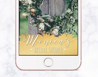Gold Leaf Foil Bridal Shower Snapchat Filter, Bridal Shower Snapchat Geofilter, Bridal Shower Snap Chat, Bridal Shower Geofilter, Gold Foil
