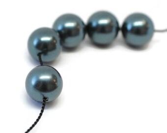 Swarovski Pearls / 10mm / Tahitian / Glass Pearl / 25 Beads / SWR010