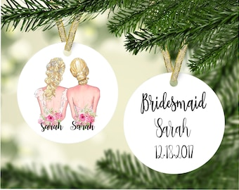 Will you be my Bridesmaid Ornament, Personalized Bridesmaid gift, Bridesmaid Proposal, Maid of Honor Gift, Bridesmaid Ornament