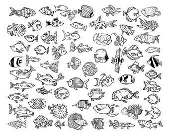 64 Fish Doodles / Digital PNG Clipart Graphics / + EPS Vector Files / for personal and commercial use