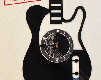 Electric guitar vinyl record clock *FREE SHIPPING*
