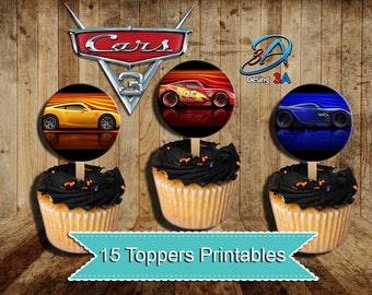 Cars 3, Cars 3 toppers, Cars 3 Party, Cars 3 Birthday, Cars Party, Cars 3 Cupcake toppers, Cars, Disney, Cars Birthday