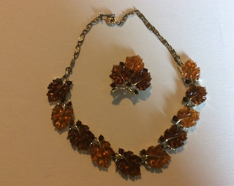 Lisner Autumn Leaves Necklace and Brooch Set