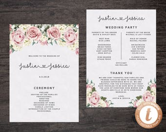INSTANT DOWNLOAD Wedding Program Template, Printable Wedding Program, Floral Wedding Program, Roses Wedding Program, Templett, W06