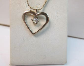 """Gold Tone Cubic Zirconia Heart Necklace with 18"""" Gold Tone Chain"""