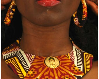Ankara Bib Necklace with Matching Hoop Earrings, African Print Necklace, Fabric Necklace