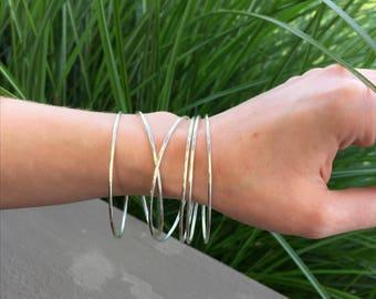 6 Sterling Silver Stacking Bangles, Argentium Silver Bangles, Set of 6 Bangles, Thin Silver Bangles, Stacking Bracelets, Silversmith