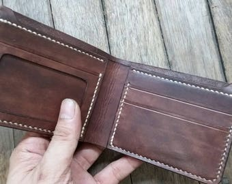 Midium size Bi-fold Wallet with ID window,  Vegetable Tanned Leather