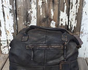 Vintage Black Large Overnight/ Travel Leather Handbag