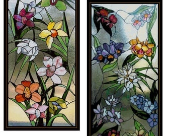 Two Large STAINED GLASS FLOWERS Panels 1 And 2 Cross Stitch Pattern Approx