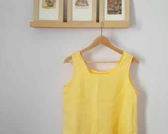 Vintage Yellow Linen Tank Top