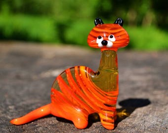 Glass tiger orange figurine hand blown tiger animals big tiger sculpture art glass gift blowing murano tiger collectible glass animals toys