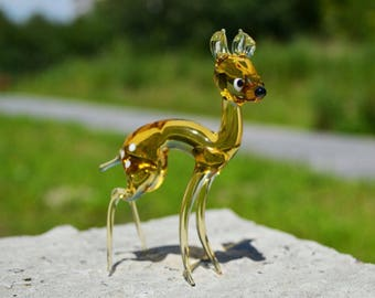 Yellow Glass bembi deer figurine animals glass deer yellow miniature art glass deer toys murano deers Christmas tiny small figure glass bemb