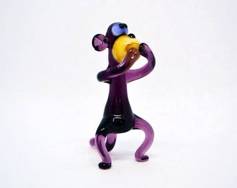 Purple glass monkey figurine animals glass monkeys sculpture art glass toy murano monkey animals tiny small monkey animals figures gifts