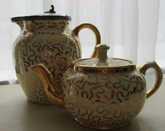 Vintage Gift. Sudlow Burslem Gold Squiggles 1930 Teapot 0657 and Large Jug with Lid 0272. Vintage Sudlow Burslem Lustre. Kitchen.