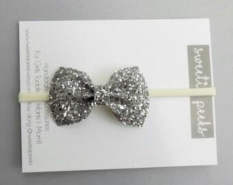 Classic Silver Glitter Hair Bow | Baby Girl Glitter Bow |