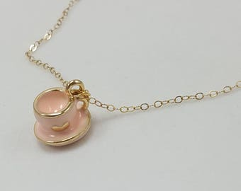 Tea Cup Necklace, Pink Tea Cup Necklace, Tea Party Necklace, Gift for Tea Lover