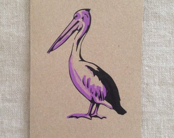 Pelican Purple Card, greeting card, blank card, kraft paper, rustic card, raw, any occasion card, organic card, nature, sea creature card