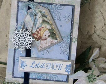 Christmas card, Hand crafted, Polar Bear, Embossed Snowflakes, 3D effect, Keepsake, Blues and Silvers, acid free and lignin free cardstock