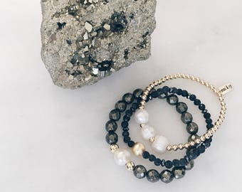 Trio Set of Pyrite, Pearls and Goldfill Beads Stretch Bracelets