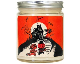 Halloween Candle, Halloween Decor, Scented Candle, Soy Candle, Container Candle,  Vintage Halloween,  Vintage Halloween, Fall Candle