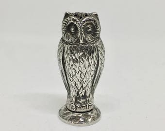 Owl salt shaker, 835 silver Dutch hallmarked