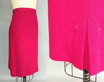 lipstick / 1960s hot pink wool pencil skirt by koret of california / 8 small