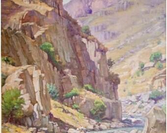 On Sale Canyon. Original Oil Painting, Print on Canvas, Armenian Landscape, Home Decor