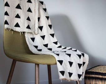 White triangle Bogolan Mudcloth fabric