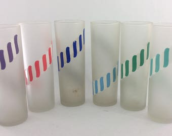 Set of 6 Vintage Frosted Striped Candy Tumblers Iced Tea Glasses Chimney Glasses Libby  Tiki Bar Barware