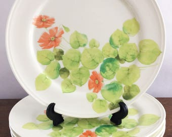 Vintage Mikasa Dinner Plates Water Lilies Peaches Shabby Chic Home Decor Cottage Dinnerware Floral Plates Spring