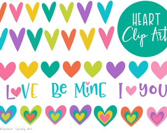 Heart Clip Art - Colorful Hearts Clipart - Valentines Clip Art - Heart clipart