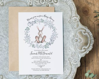 Blue Bunny Baby Shower Invitation Template, Editable and Printable Invitation, Instant Download PDF