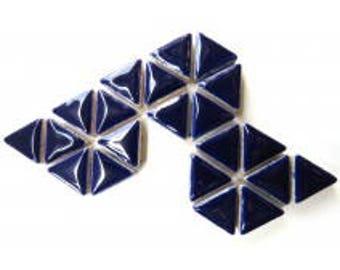 Triangle Ceramic Mosaic Tiles - Indigo - 50g (1.75 oz)