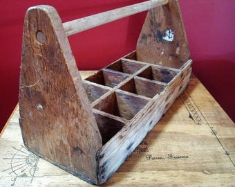 Vintage Primitive Wooden Tool Caddy Tray with Compartments, ca. 1940's