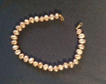 """Pink Pearl Bead Bracelet - 8"""""""
