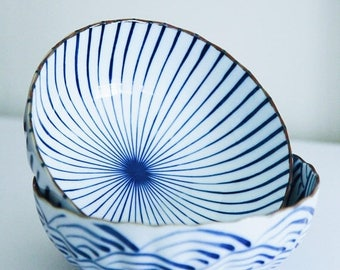 ON SALE Set of 2 Tokusa and Wave Shallow Noodle Bowls , Japan , Pottery , Blue and White Bowl